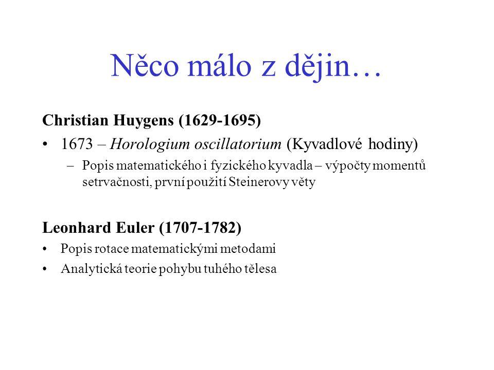 Něco málo z dějin… Christian Huygens (1629-1695) 1673 – Horologium oscillatorium (Kyvadlové hodiny) –Popis matematického i fyzického kyvadla – výpočty