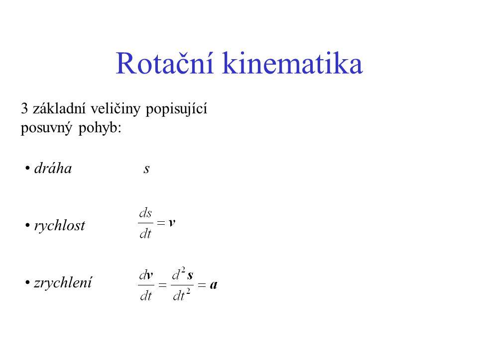 Rotační kinematika 3 základní veličiny popisující posuvný pohyb: dráha s rychlost zrychlení