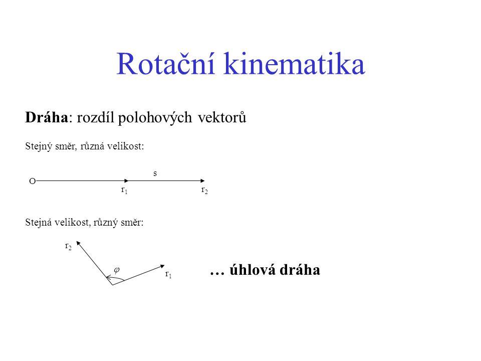 Shrnutí Posuvná veličinaRotační veličina Dráha s Úhlová dráha  RychlostÚhlová rychlost ZrychleníÚhlové zrychlení Síla FMoment síly Hmotnost mMoment setrvačnosti Hybnost pMoment hybnosti