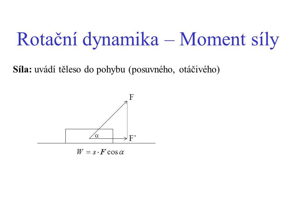Rotační dynamika – Moment síly Síla: uvádí těleso do pohybu (posuvného, otáčivého) F  F'F'