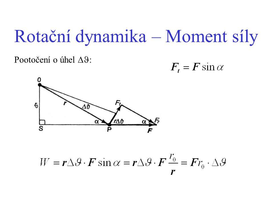 Rotační dynamika - Moment hybnosti hybnost: p = mv moment hybnosti: L = I 