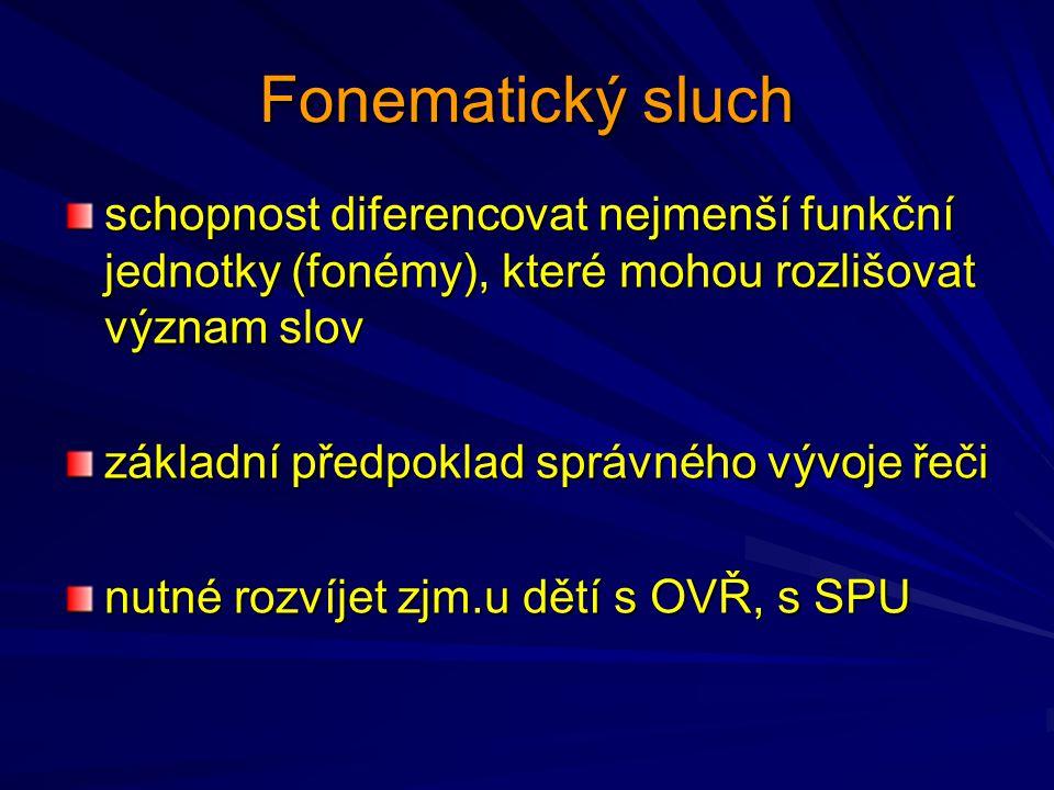 Fonematický sluch schopnost diferencovat nejmenší funkční jednotky (fonémy), které mohou rozlišovat význam slov základní předpoklad správného vývoje ř