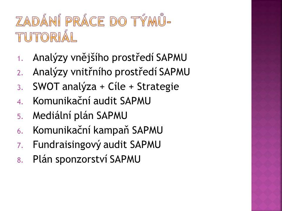 1.Analýzy vnějšího prostředí SAPMU 2. Analýzy vnitřního prostředí SAPMU 3.