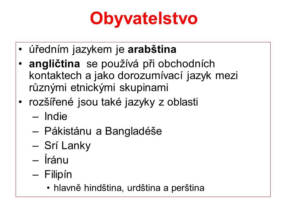 Obyvatelstvo úředním jazykem je arabština angličtina se používá při obchodních kontaktech a jako dorozumívací jazyk mezi různými etnickými skupinami r