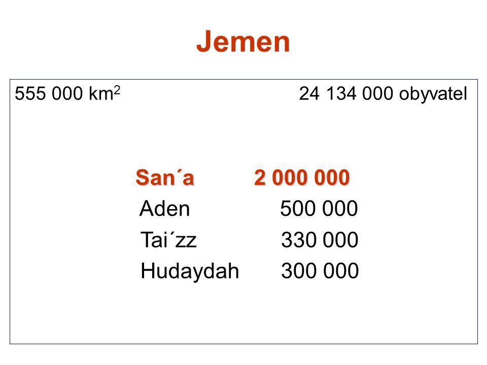 Jemen 555 000 km 2 24 134 000 obyvatel San´a 2 000 000 Aden 500 000 Tai´zz 330 000 Hudaydah 300 000