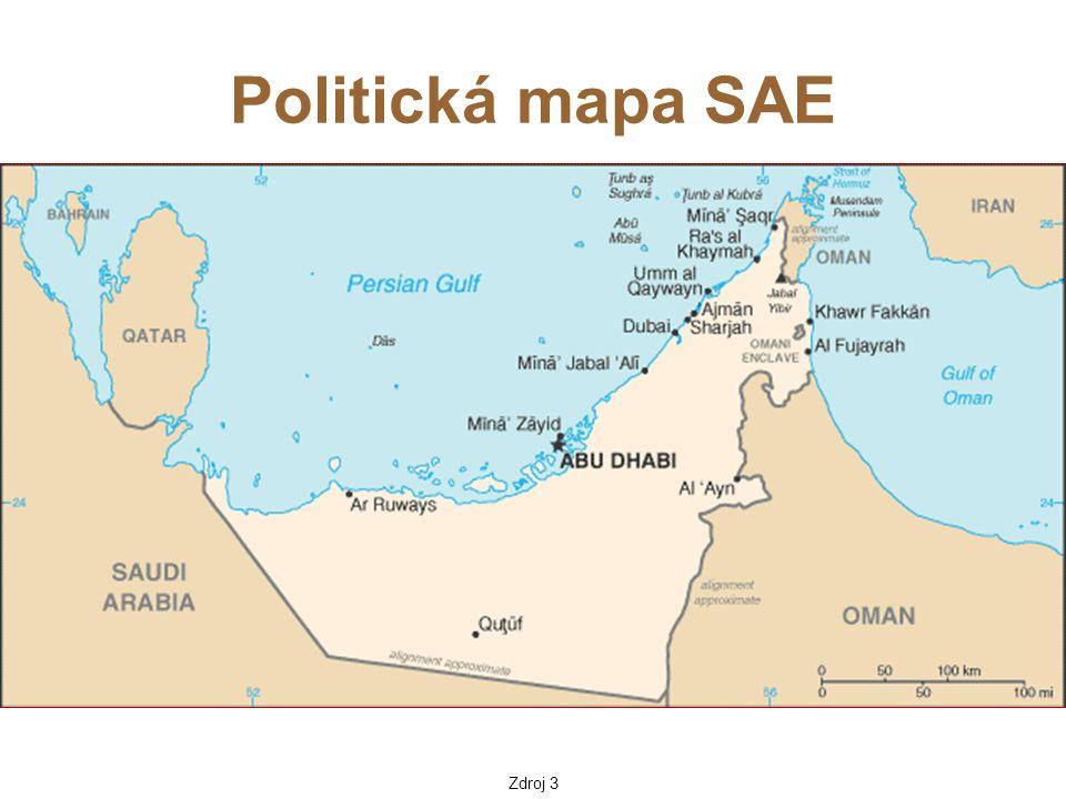 Spojené arabské emiráty 77 700 km 2 5 455 000 obyvatel Abu Dhabi 600 000  smlouva o vytvoření společné federace byla podepsána v roce 1971 Ra's al-Khaimah se připojil o rok později  rozloha 83 600 km 2 včetně ostrovů  hranice se Saúdskou Arábií v poušti nejsou zcela vymezeny