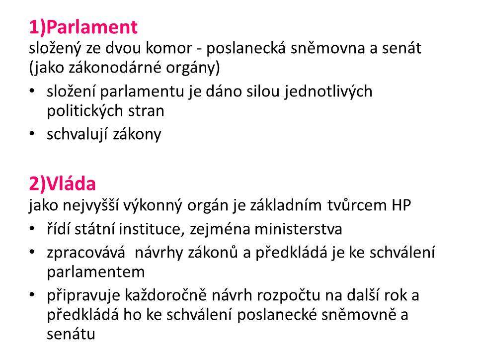 1)Parlament složený ze dvou komor - poslanecká sněmovna a senát (jako zákonodárné orgány) složení parlamentu je dáno silou jednotlivých politických stran schvalují zákony 2)Vláda jako nejvyšší výkonný orgán je základním tvůrcem HP řídí státní instituce, zejména ministerstva zpracovává návrhy zákonů a předkládá je ke schválení parlamentem připravuje každoročně návrh rozpočtu na další rok a předkládá ho ke schválení poslanecké sněmovně a senátu