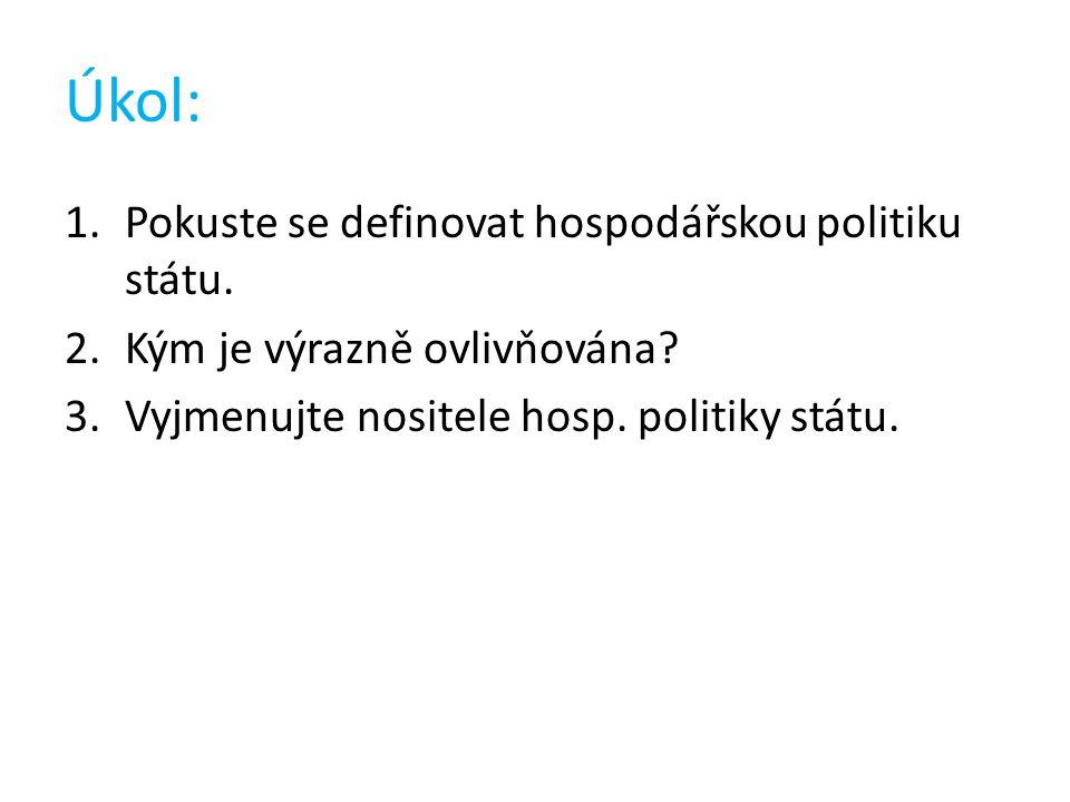 Úkol: 1.Pokuste se definovat hospodářskou politiku státu. 2.Kým je výrazně ovlivňována? 3.Vyjmenujte nositele hosp. politiky státu.