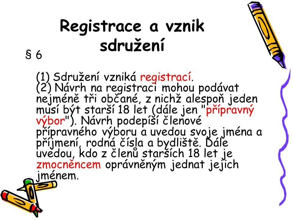 Registrace a vznik sdružení § 6 (1) Sdružení vzniká registrací. (2) Návrh na registraci mohou podávat nejméně tři občané, z nichž alespoň jeden musí b
