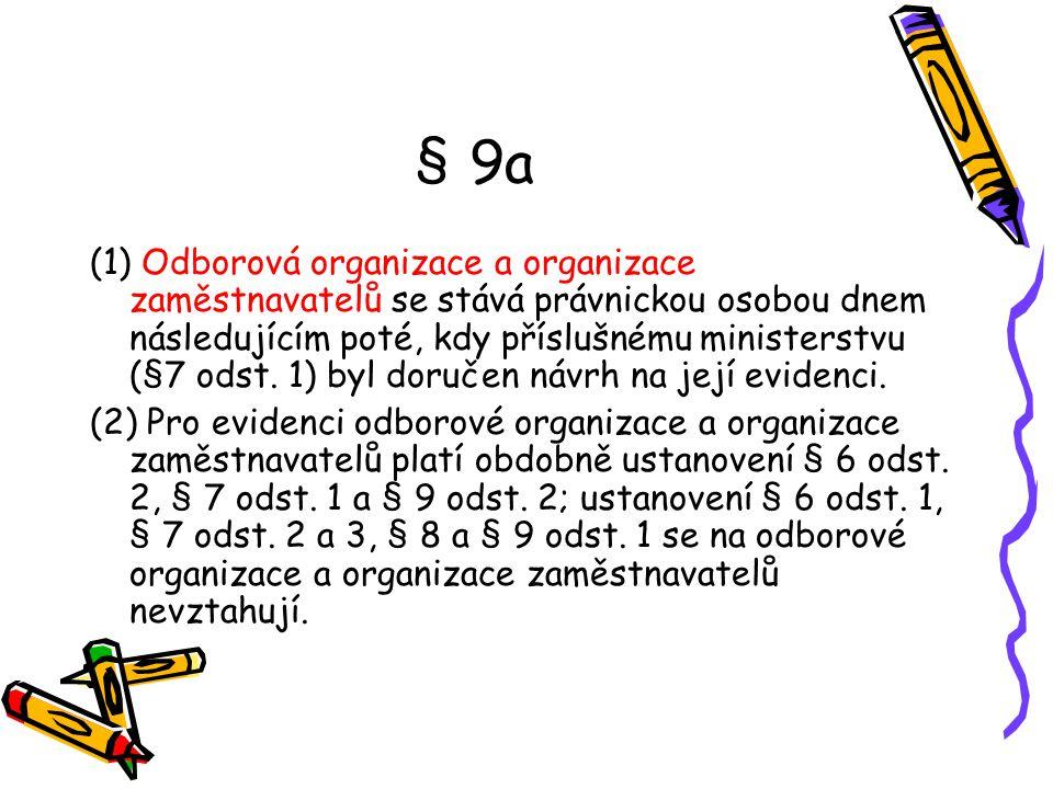 § 9a (1) Odborová organizace a organizace zaměstnavatelů se stává právnickou osobou dnem následujícím poté, kdy příslušnému ministerstvu (§7 odst. 1)