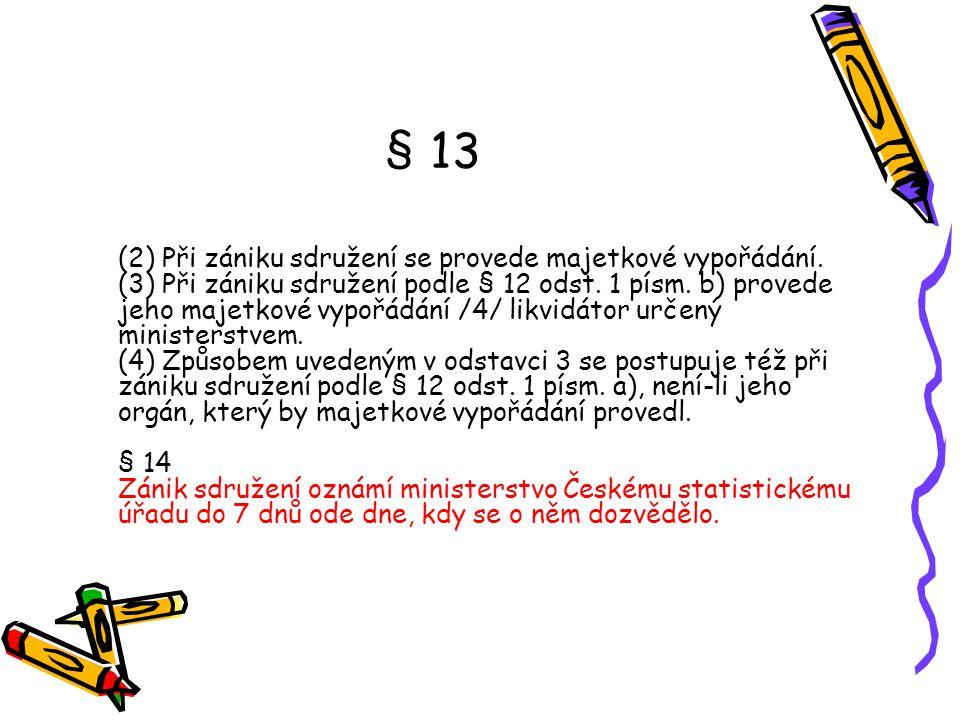 § 13 (2) Při zániku sdružení se provede majetkové vypořádání. (3) Při zániku sdružení podle § 12 odst. 1 písm. b) provede jeho majetkové vypořádání /4