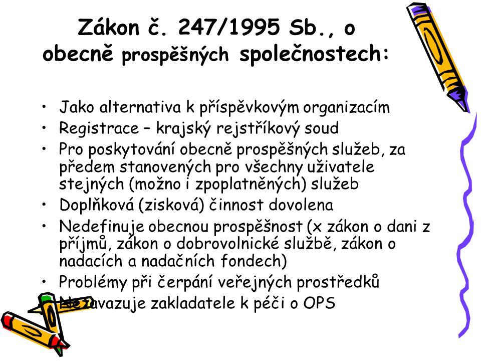Zákon č. 247/1995 Sb., o obecně prospěšných společnostech: Jako alternativa k příspěvkovým organizacím Registrace – krajský rejstříkový soud Pro posky