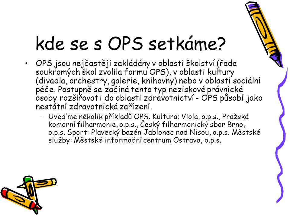 kde se s OPS setkáme? OPS jsou nejčastěji zakládány v oblasti školství (řada soukromých škol zvolila formu OPS), v oblasti kultury (divadla, orchestry