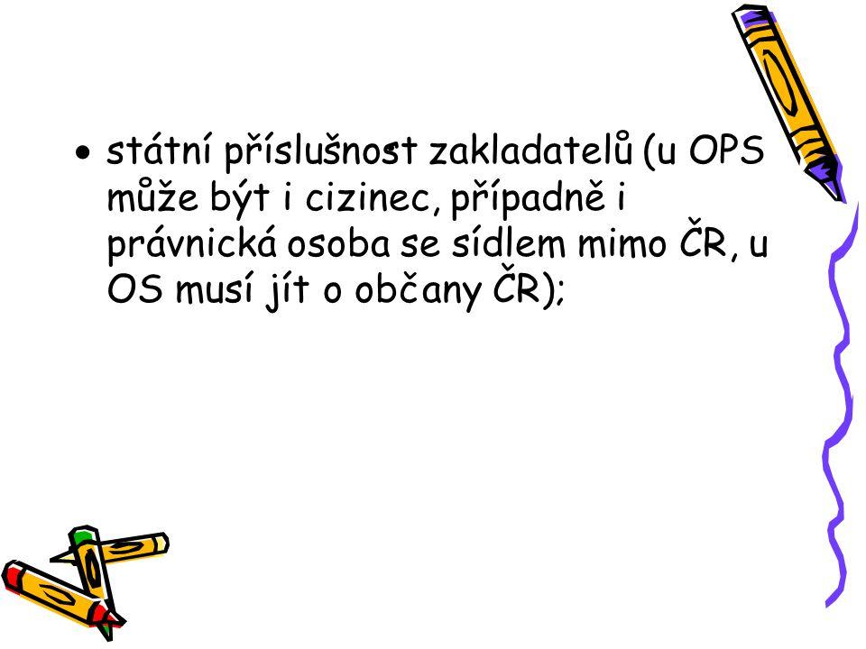 .  státní příslušnost zakladatelů (u OPS může být i cizinec, případně i právnická osoba se sídlem mimo ČR, u OS musí jít o občany ČR);