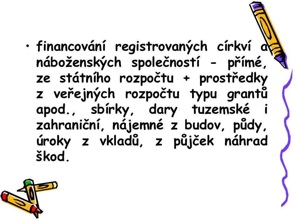 . financování registrovaných církví a náboženských společností - přímé, ze státního rozpočtu + prostředky z veřejných rozpočtu typu grantů apod., sbír