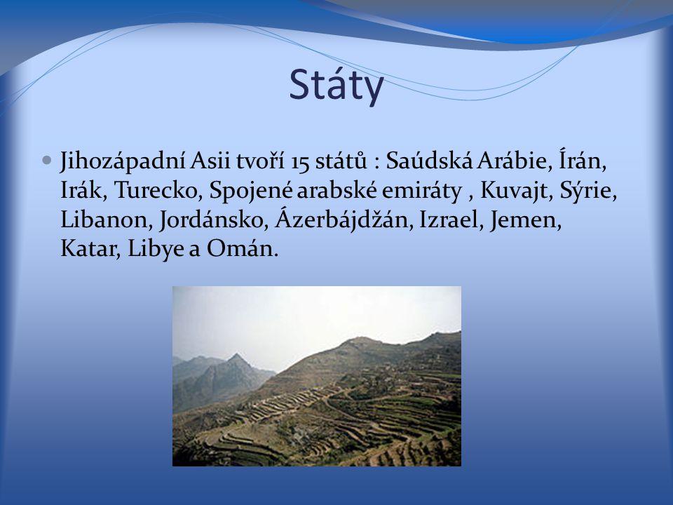 Státy Jihozápadní Asii tvoří 15 států : Saúdská Arábie, Írán, Irák, Turecko, Spojené arabské emiráty, Kuvajt, Sýrie, Libanon, Jordánsko, Ázerbájdžán,
