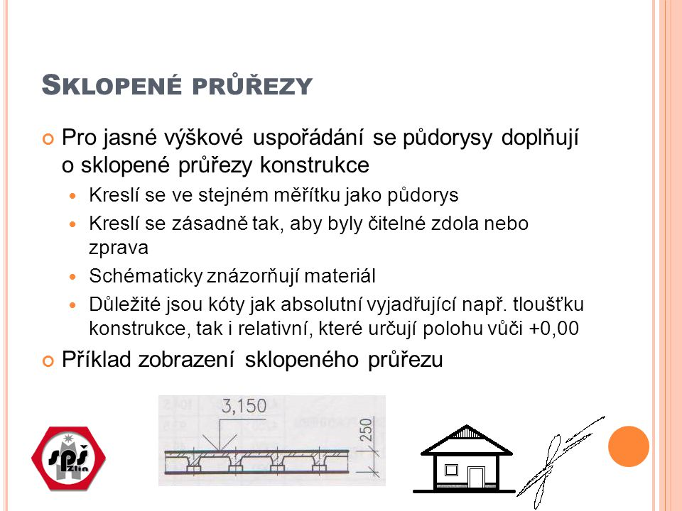 S KLOPENÉ PRŮŘEZY Pro jasné výškové uspořádání se půdorysy doplňují o sklopené průřezy konstrukce Kreslí se ve stejném měřítku jako půdorys Kreslí se