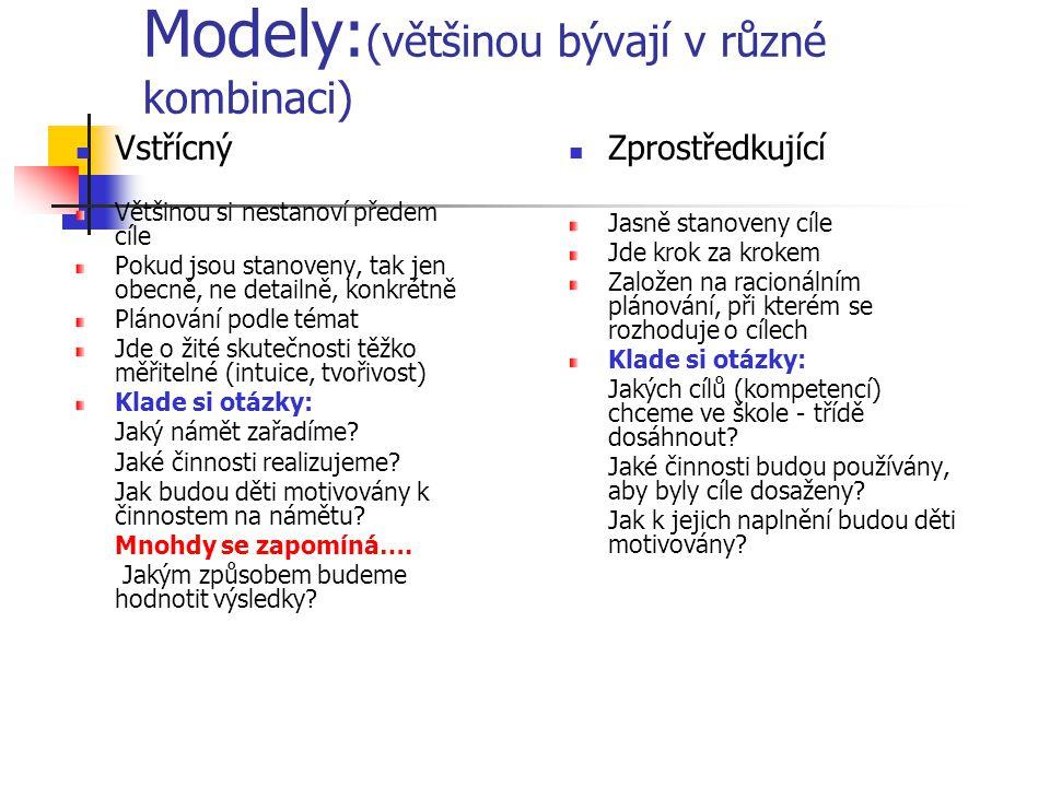 Modely: (většinou bývají v různé kombinaci) Vstřícný Většinou si nestanoví předem cíle Pokud jsou stanoveny, tak jen obecně, ne detailně, konkrétně Pl