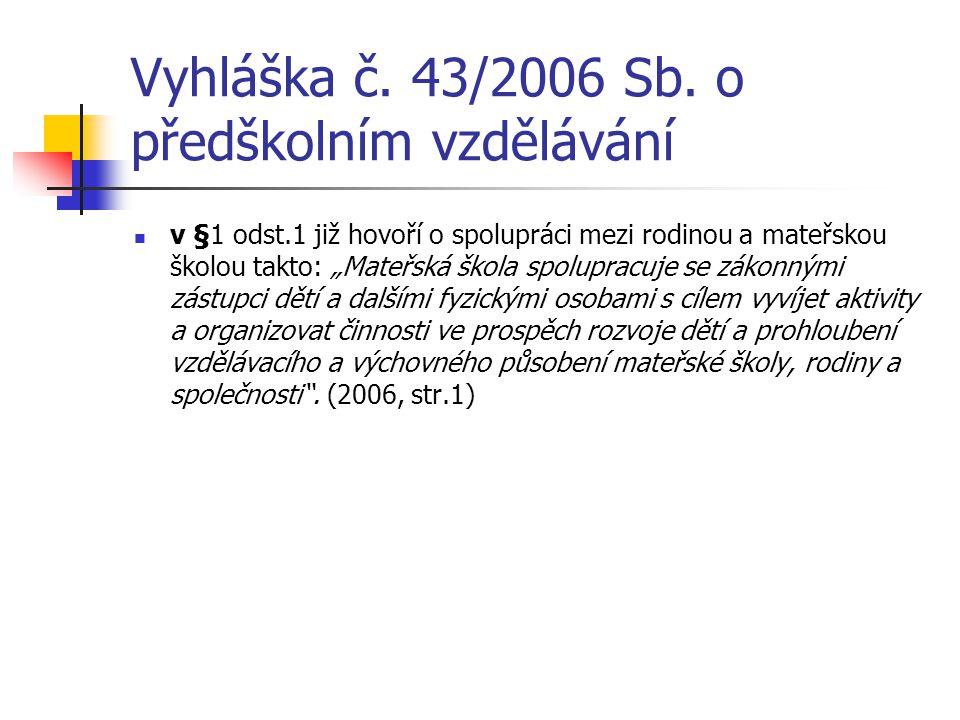 """Vyhláška č. 43/2006 Sb. o předškolním vzdělávání v §1 odst.1 již hovoří o spolupráci mezi rodinou a mateřskou školou takto: """"Mateřská škola spolupracu"""