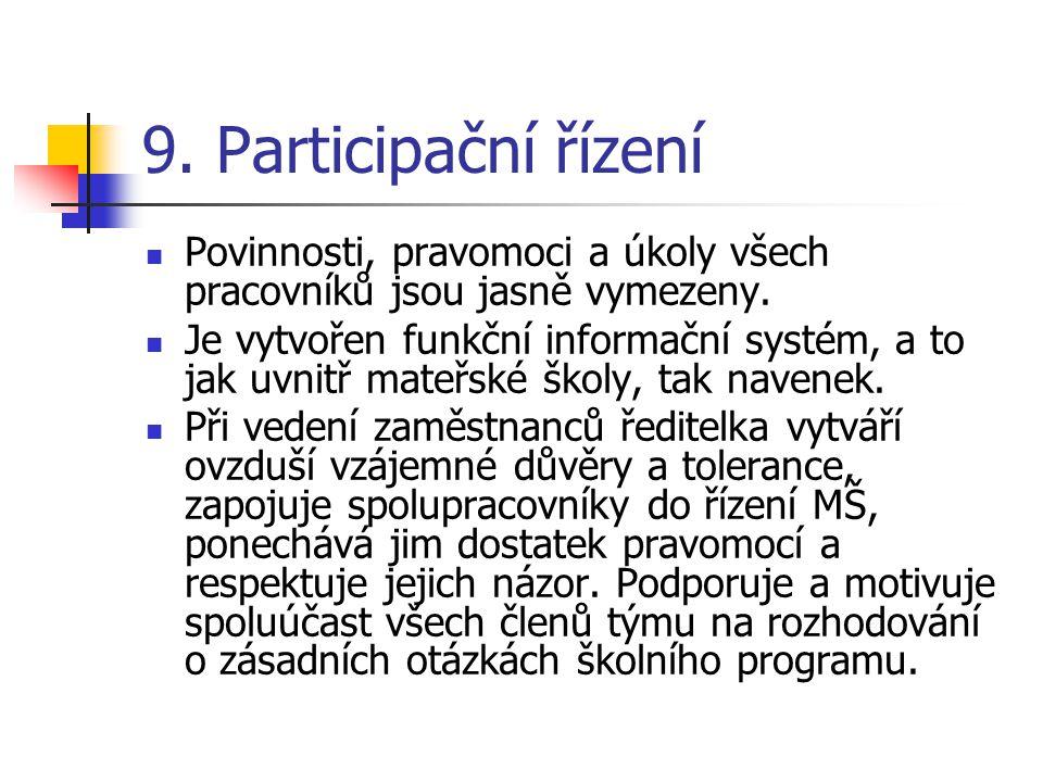 9. Participační řízení Povinnosti, pravomoci a úkoly všech pracovníků jsou jasně vymezeny. Je vytvořen funkční informační systém, a to jak uvnitř mate