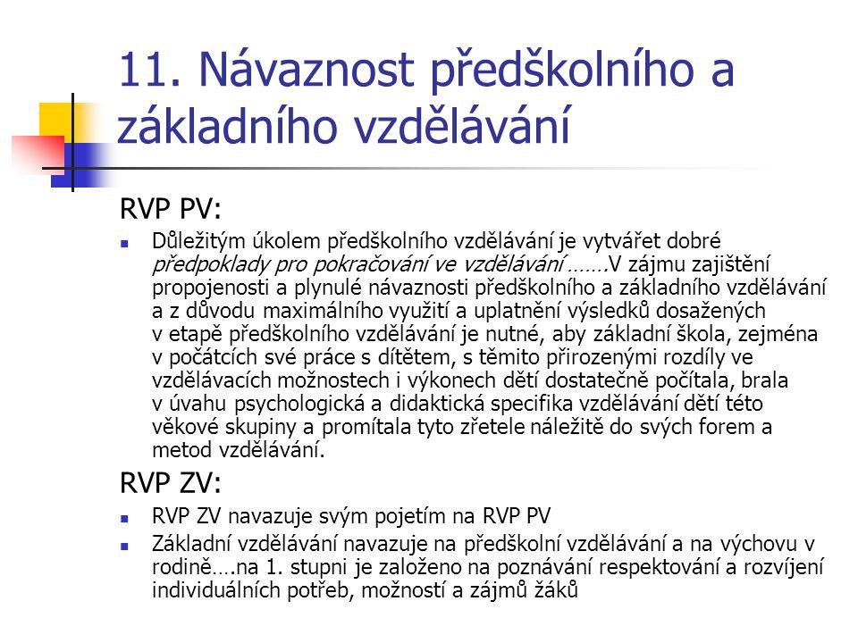 11. Návaznost předškolního a základního vzdělávání RVP PV: Důležitým úkolem předškolního vzdělávání je vytvářet dobré předpoklady pro pokračování ve v