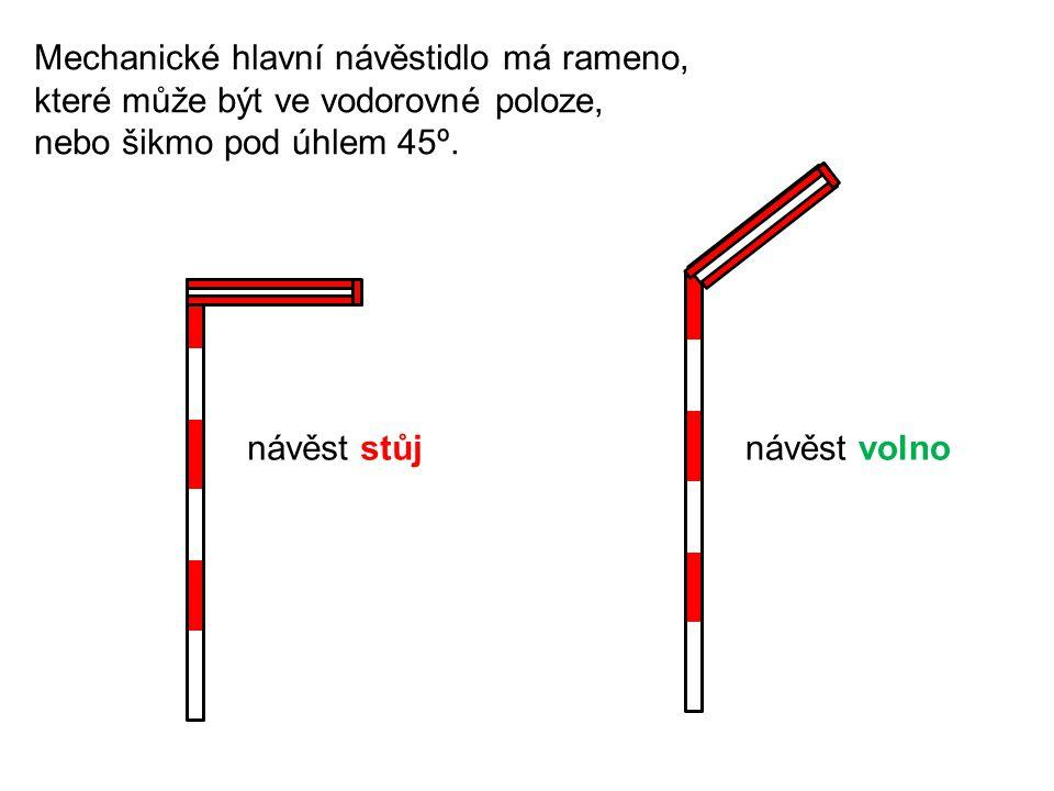 Mechanická předvěst má terč, který může být ve svislé poloze, nebo sklopený do vodorovné polohy.