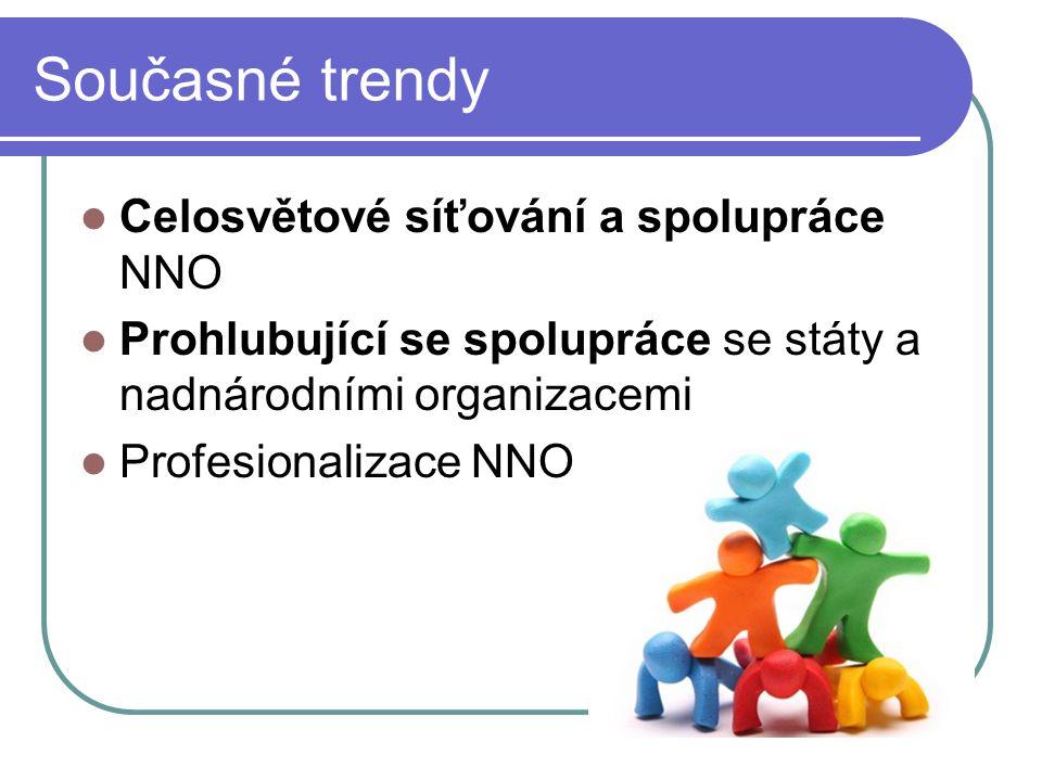 Současné trendy Celosvětové síťování a spolupráce NNO Prohlubující se spolupráce se státy a nadnárodními organizacemi Profesionalizace NNO