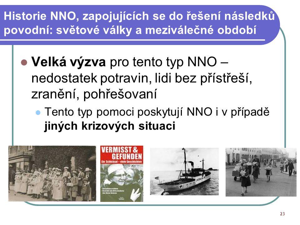 Historie NNO, zapojujících se do řešení následků povodní: světové války a meziválečné období Velká výzva pro tento typ NNO – nedostatek potravin, lidi