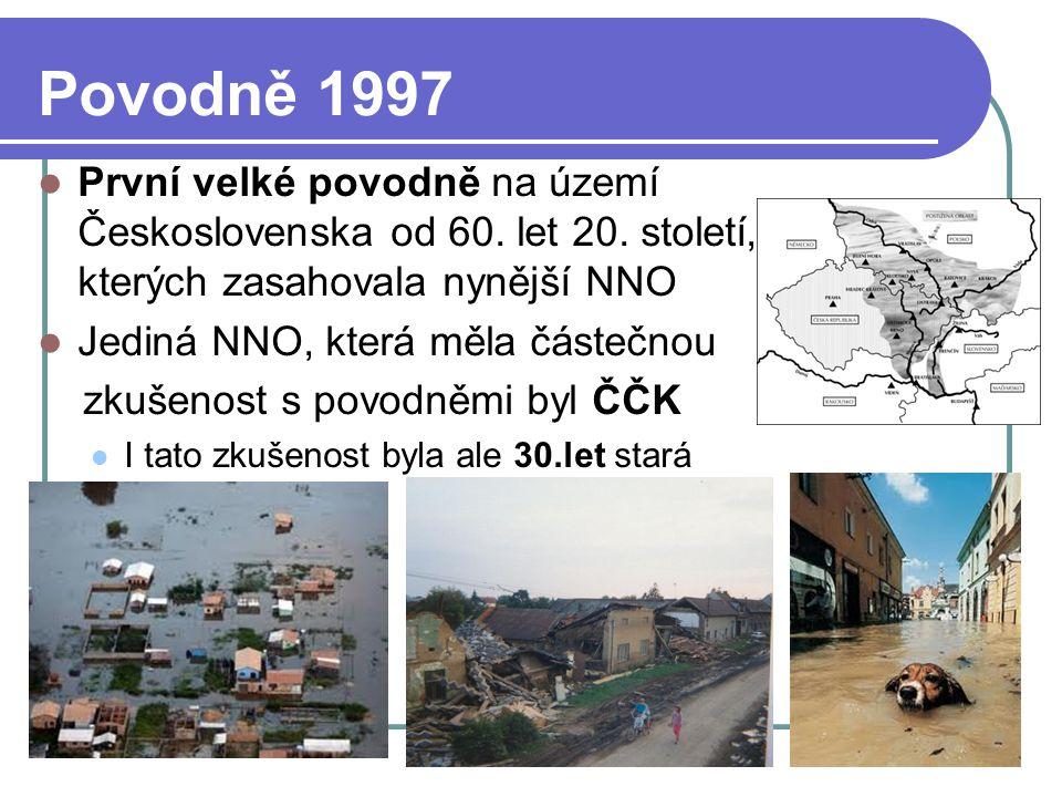 Povodně 1997 První velké povodně na území Československa od 60. let 20. století, při kterých zasahovala nynější NNO Jediná NNO, která měla částečnou z