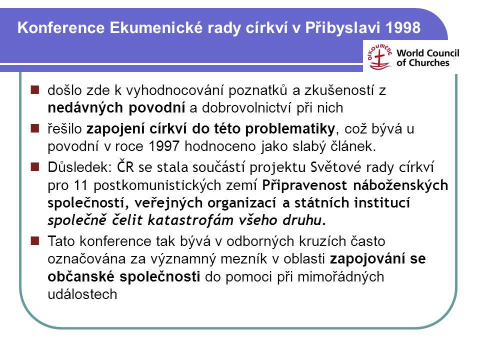 Konference Ekumenické rady církví v Přibyslavi 1998 došlo zde k vyhodnocování poznatků a zkušeností z nedávných povodní a dobrovolnictví při nich řeši
