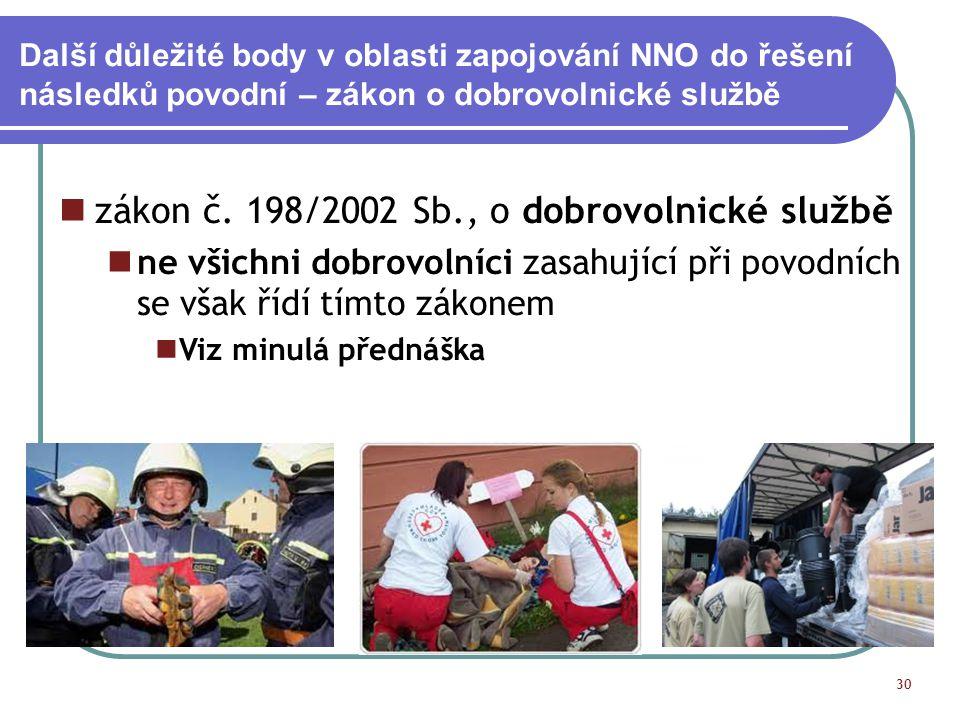 Další důležité body v oblasti zapojování NNO do řešení následků povodní – zákon o dobrovolnické službě 30 zákon č. 198/2002 Sb., o dobrovolnické služb