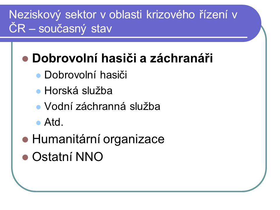 Neziskový sektor v oblasti krizového řízení v ČR – současný stav Dobrovolní hasiči a záchranáři Dobrovolní hasiči Horská služba Vodní záchranná služba