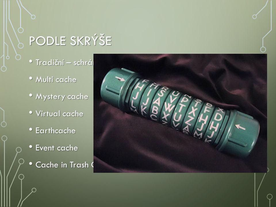PODLE SKRÝŠE Tradiční – schránka je přímo na souřadnicích Tradiční – schránka je přímo na souřadnicích Multi cache Multi cache Mystery cache Mystery c