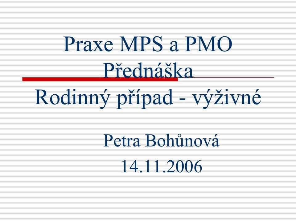 Praxe MPS a PMO Přednáška Rodinný případ - výživné Petra Bohůnová 14.11.2006