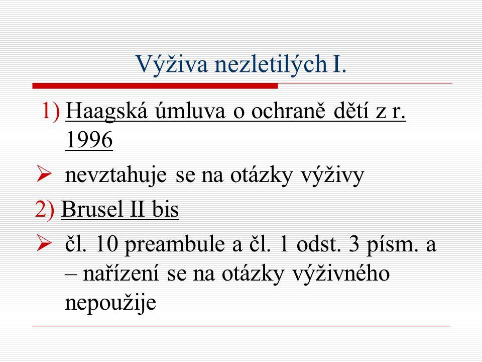 Výživa nezletilých I. 1) Haagská úmluva o ochraně dětí z r.