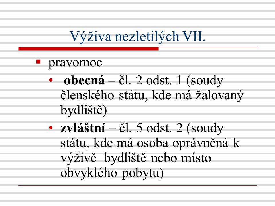Výživa nezletilých VII.  pravomoc obecná – čl. 2 odst.
