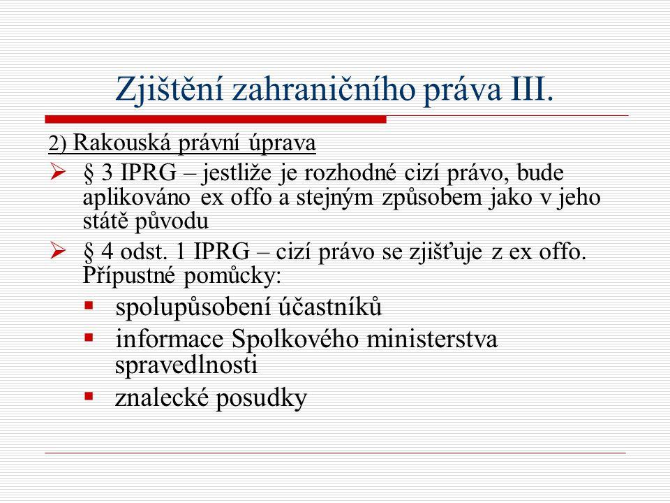 Zjištění zahraničního práva III.