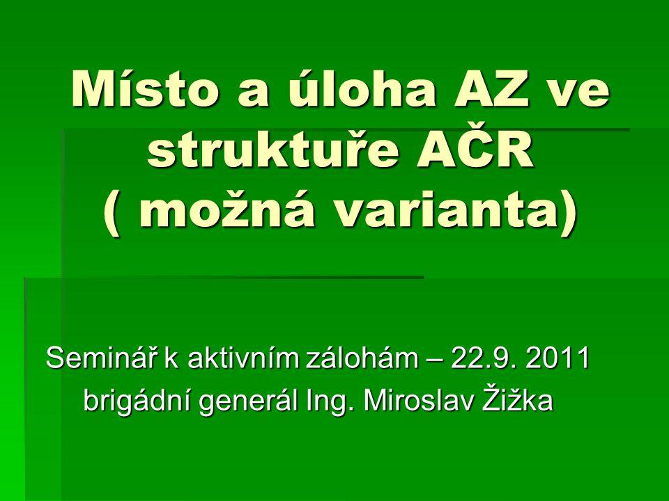 Místo a úloha AZ ve struktuře AČR ( možná varianta) Seminář k aktivním zálohám – 22.9.