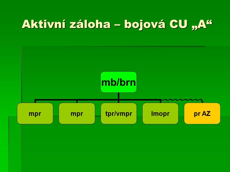 """Aktivní záloha – bojová CU """"A mb/brn mpr tpr/vmprlmoprpr AZ"""
