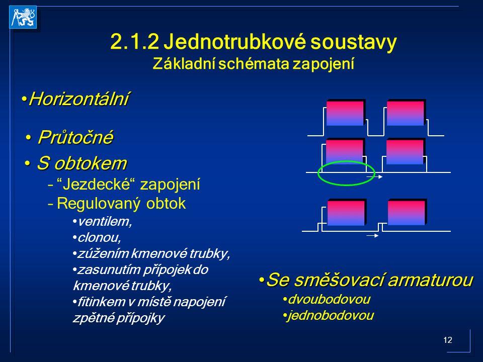 12 2.1.2 Jednotrubkové soustavy Základní schémata zapojení SeSe směšovací armaturou dvoubodovou jednobodovou HorizontálníHorizontální S obtokem S obto