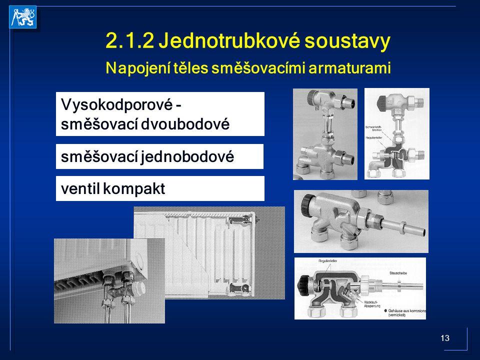 13 2.1.2 Jednotrubkové soustavy Napojení těles směšovacími armaturami Vysokodporové - směšovací dvoubodové směšovací jednobodové ventil kompakt