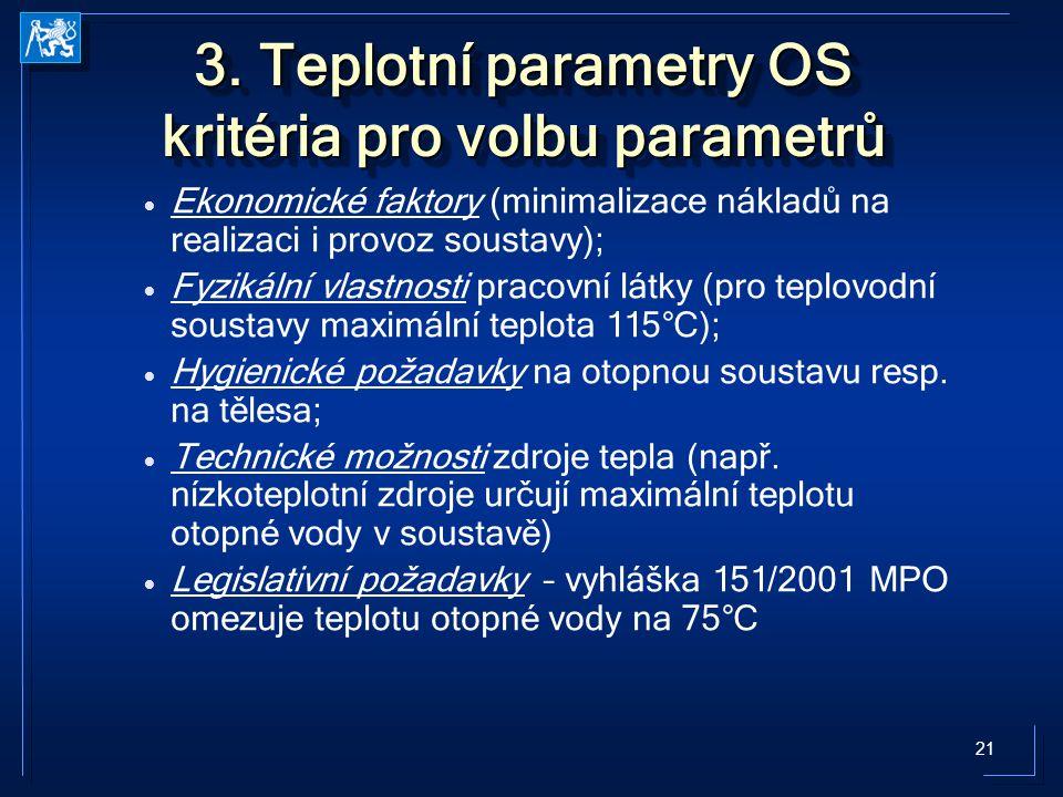 21 3. Teplotní parametry OS kritéria pro volbu parametrů   Ekonomické faktory (minimalizace nákladů na realizaci i provoz soustavy);   Fyzikální v