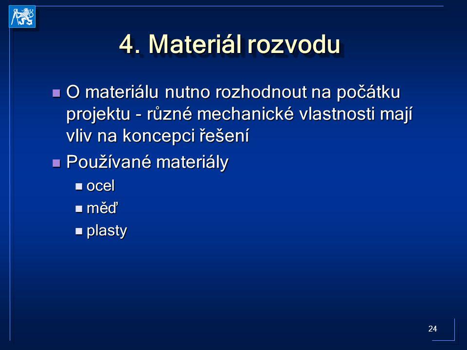 24 4. Materiál rozvodu O materiálu nutno rozhodnout na počátku projektu - různé mechanické vlastnosti mají vliv na koncepci řešení O materiálu nutno r