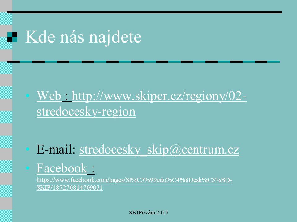 Kde nás najdete Web : http://www.skipcr.cz/regiony/02- stredocesky-regionWebhttp://www.skipcr.cz/regiony/02- stredocesky-region E-mail: stredocesky_sk