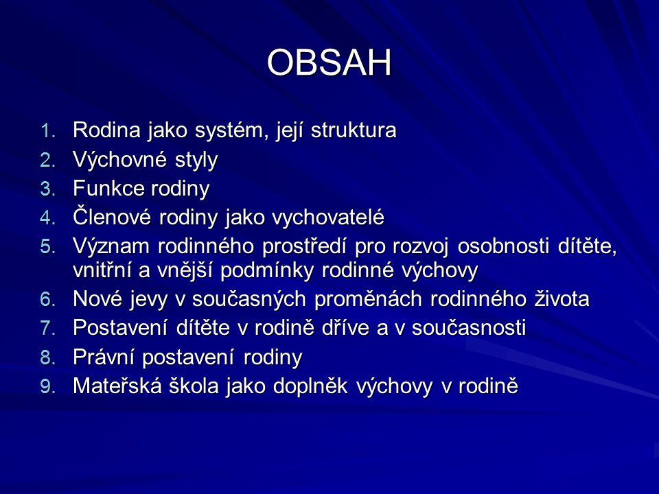 OBSAH 1. Rodina jako systém, její struktura 2. Výchovné styly 3. Funkce rodiny 4. Členové rodiny jako vychovatelé 5. Význam rodinného prostředí pro ro