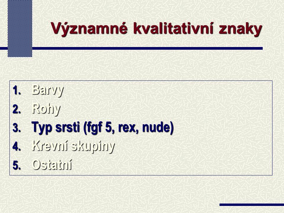 1. Barvy 2. Rohy 3. Typ srsti (fgf 5, rex, nude) 4.