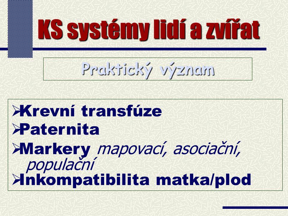 KS systémy lidí a zvířat   Krevní transfúze   Paternita   Markery mapovací, asociační, populační   Inkompatibilita matka/plod Praktický význam