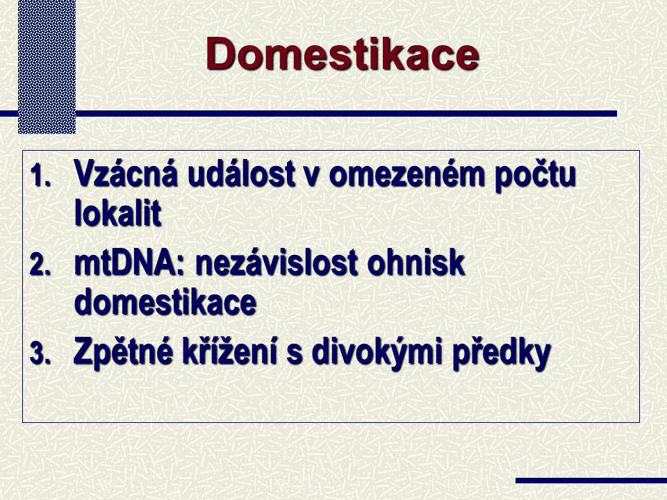1. Vzácná událost v omezeném počtu lokalit 2. mtDNA: nezávislost ohnisk domestikace 3. Zpětné křížení s divokými předky Domestikace