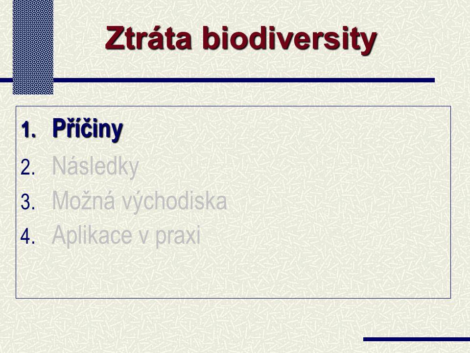1. Příčiny 2. Následky 3. Možná východiska 4. Aplikace v praxi Ztráta biodiversity