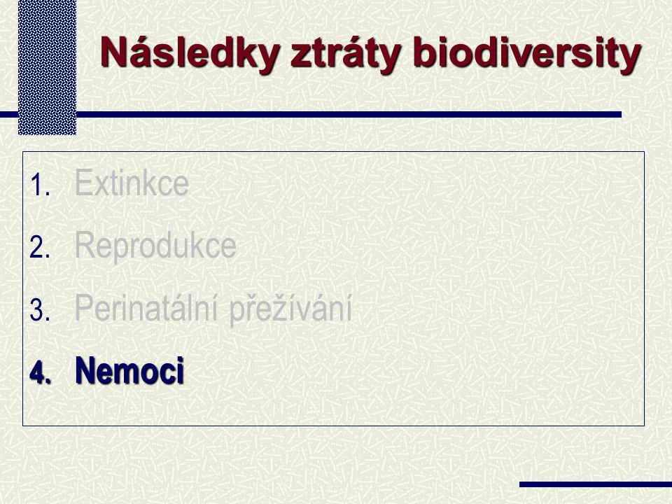 1. Extinkce 2. Reprodukce 3. Perinatální přežívání 4. Nemoci Následky ztráty biodiversity